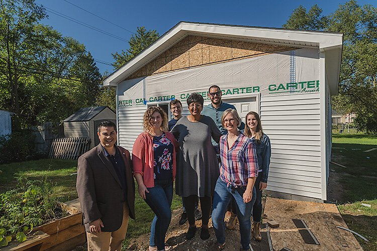 Scott Cabauatan, Ceara Murtagh, Clay Scharboneau, JoAnn McCollum, Wesley Marrero, Sarah Teare, and Anna White at the NWWNA tool lending library.