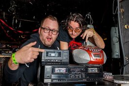 Jason Gibner and Jeremy Wheeler show off The Bang!'s hi-tech turntables.