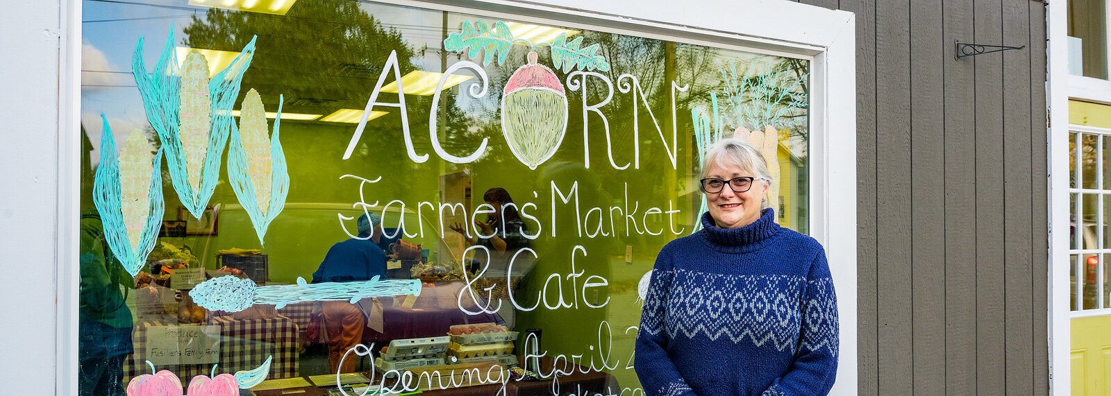 5 Healthy Towns coalition member Ruth Vanbogelen at the future home of Acorn Farmers' Market and Cafe in Manchester.