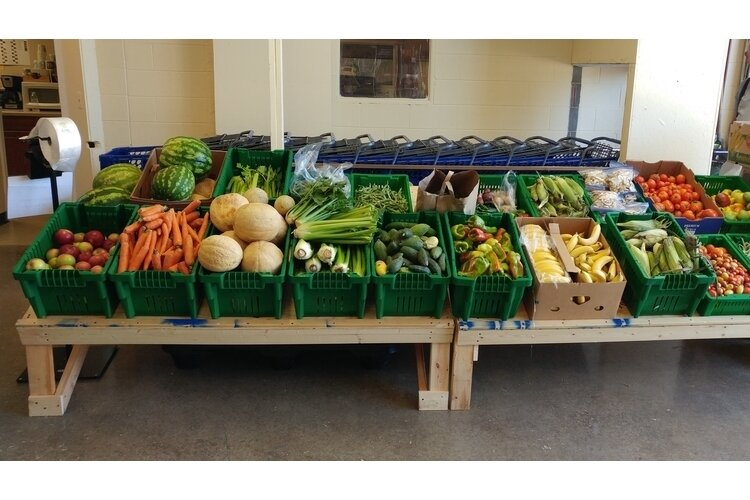 A new produce display at Active Faith's food pantry in South Lyon, funded by a county grant.