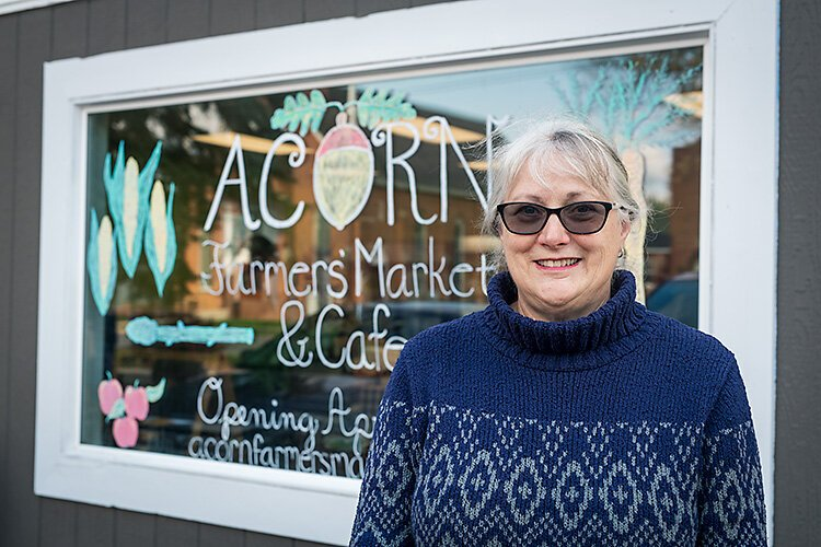 5 Healthy Towns coalition member Ruth Vanbogelen at future home of Acorn Farmers' Market and Cafe in Manchester.