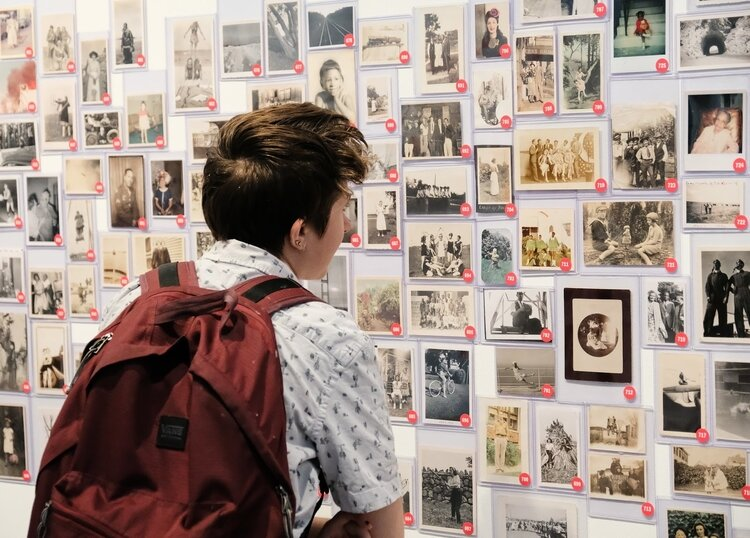 "A visitor views the ""Take Your Pick"" exhibit at UMMA."