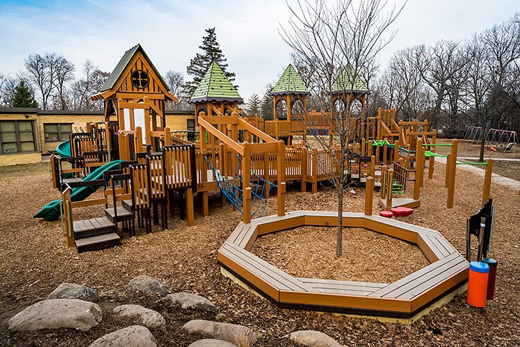 Eberwhite's kindergarten- through second-grade playground, installed last year. The crowdfunding campaign now underway would support construction of a third- through fifth-grade playground.