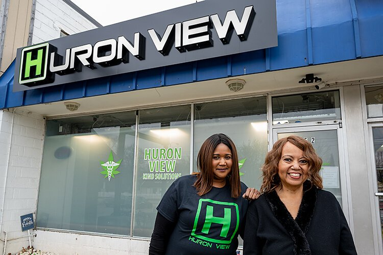 Teesha and Christina Montague at Huron View Dispensary.