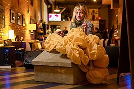 "Ypsilanti Art Incubator's Alexa Dietz with her sculpture ""Monopoly"" at Ziggy's."