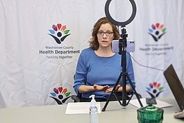 Washtenaw County Health Department Communications Manager Susan Ringler-Cerniglia gives a virtual media interview on Friday, March 13, to discuss the first two positive COVID-19 cases in Washtenaw County.