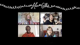 "Clockwise from lower right, Juliet Hinely, Angela Abiodun, and Amanda Krugliak interview Grand Rapids-based artist Mandy Cano Villalobos for an episode of ""House Calls."""