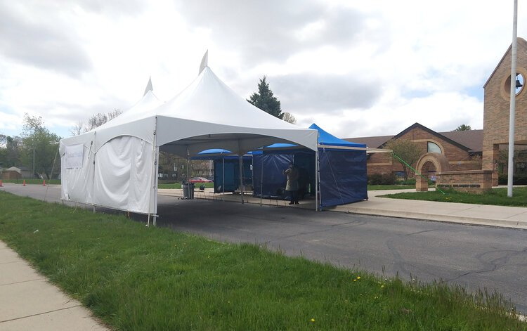 Packard Health's COVID-19 testing tent at Perry Early Learning Center on May 8.