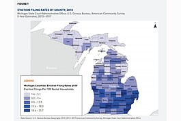 A map of Michigan eviction filing rates.