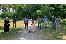 The June 22 groundbreaking ceremony for the B2B Trail in Frog Island Park.