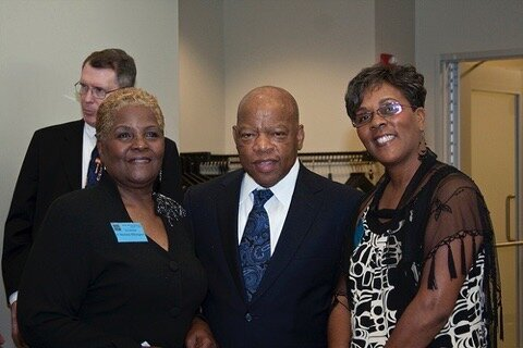 Bernice Ethington, U.S. Rep. John Lewis, and Ypsi, Can I Share? founder Gail Summerhill at the Washtenaw County Democractic Party dinner in 2009.