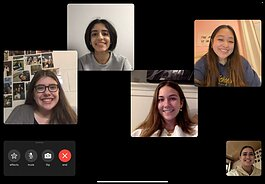 U-M students connect with each other over a Facetime call.