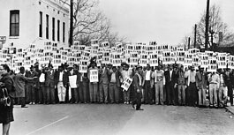 A photo of the March 28, 1968, sanitation workers' strike in Memphis. From the NEH on the Road exhibition For All the World to See: Visual Culture and the Struggle for Civil Rights.