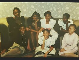 """Just a Kid From Ypsi"" panelists Erica Roberson-Peters (top left), Reagan Sidney (top row, left of center), and Taryn Willis (bottom left) as children."