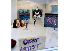 "Creator Shawn Bungo created a ""micro-gallery"" on top of his Take Art Leave Art box to showcase contributors' work."