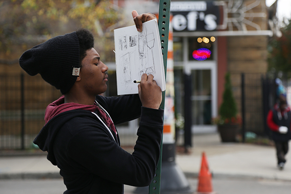 A member of MOCAD's Teen Council.