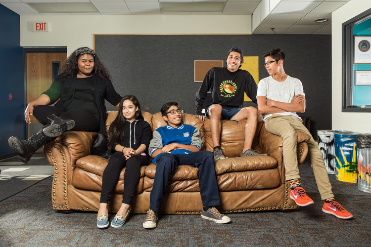 Grandville Avenue Arts and Humanities Teen Leaders in the Arts participants Egypt Kyles, Karen Pacheco, Emmanuel Zavala, Antonio Jaimes, and Edgar Jaimes.