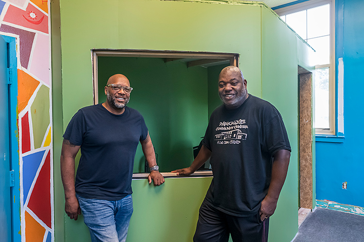Bryan Foley and Anthony Williamson at the Parkridge Community Center recording studio.