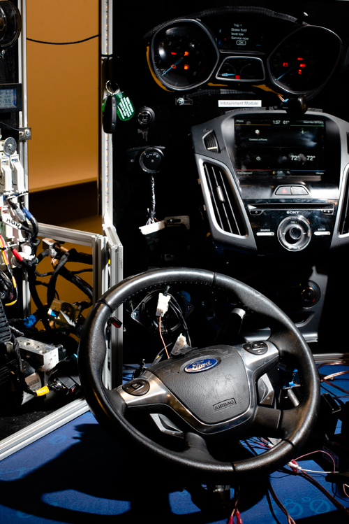 "This is the ""mobile hacking workbench,"" a replica of the communication computers and wiring infrastructure of a modern vehicle, custom-built for Washtenaw Community College."