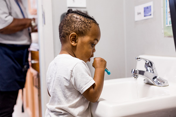 Brushing teeth at Starfish Early Head Start