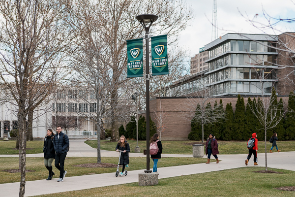 Students at the Wayne State University campus