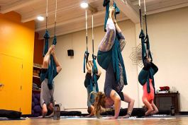 A small group practices inversion during an aerial yoga session at RedBloom Yoga Center in Mt. Pleasant
