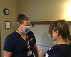 Sarah Bloomfield, a hospice nurse for MidMichigan Home Care at the Woodland Hospice House in Mt. Pleasant, has been making face masks that allow the hearing-impaired to still lip-read.