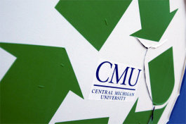 CMU recycling sign