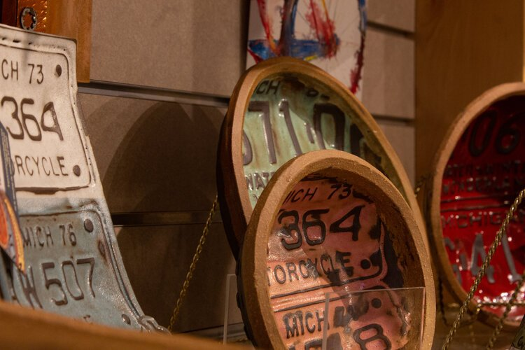Kathryn Space works with license plates to create one-of-a-kind pottery.