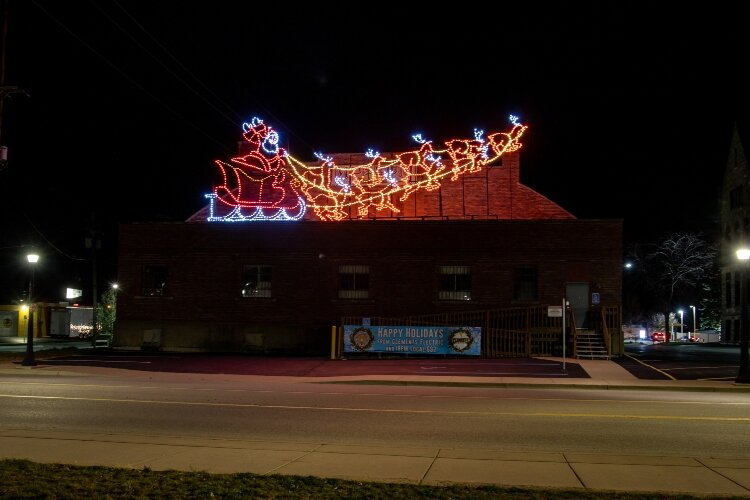 Santa and his magical reindeer take off from the roof of the Historical Museum of Bay County, 321 Washington Ave.