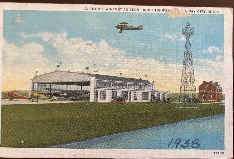 An early postcard depicts the airport in 1938.