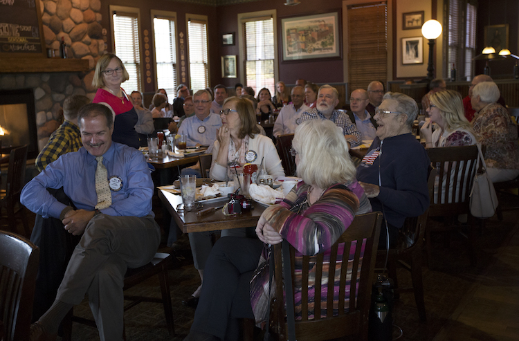 Mt. Pleasant Rotary Club members gather on Monday, Oct. 8, 2018 for their weekly meeting at Mountain Town Station located on W. Broadway in Mount Pleasant, Michigan.
