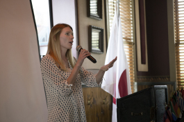 President of the Mt. Pleasant Rotary Club, Alysha Fisher, gives closing announcements at the club's meeting on Monday, Oct.8, 2018.