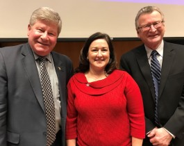 Superintendents Sheryl Presler (Clare/Gladwin) and Jan Amsterburg (Gratiot/Isabella) pose with Rich Baird, Senior Advisor to former Governor Snyder