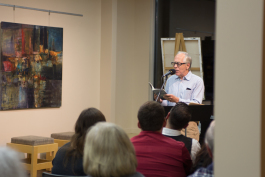 Poet Marc Hudson read a selection of his work to a full house last month at the Wellspring Literary Series tenth season kickoff
