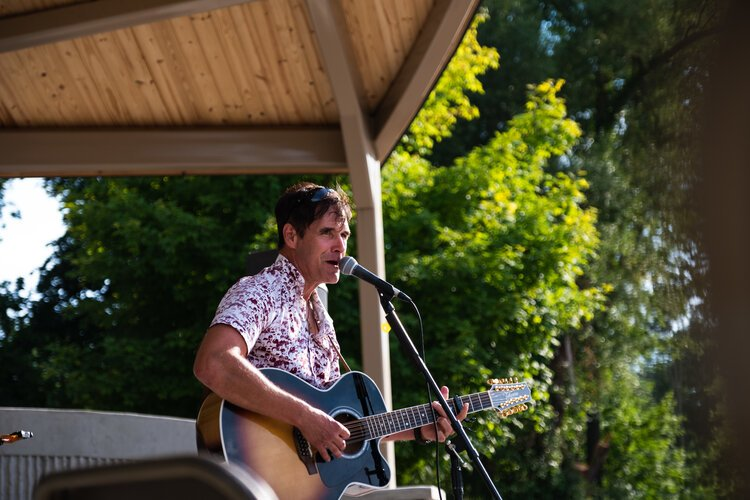 Jim McKeith, a one-man acoustic rock band, performed on Aug. 5 at the Island Park Arts Pavilion's inaugural concert.