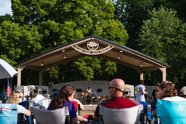 Many residents turned out Aug. 5 for an evening of music as the community celebrated the official opening of the Island Park Arts Pavilion.