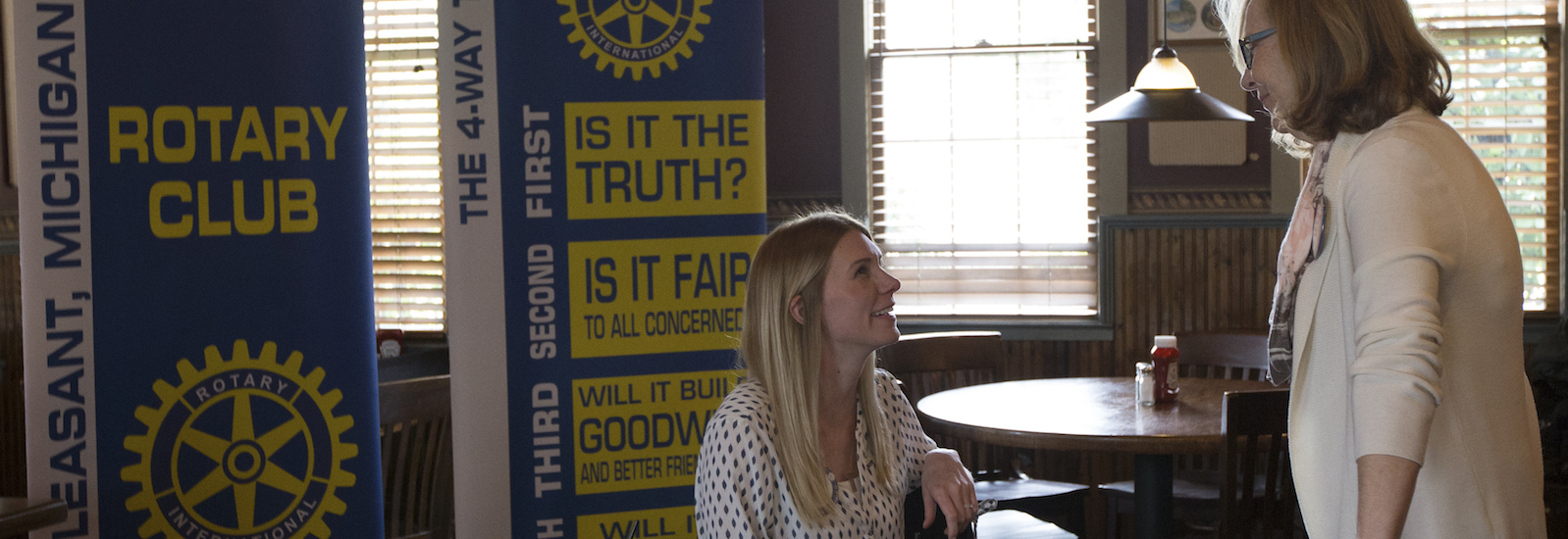 Mt. Pleasant Rotary Club President Alysha Fisher and Peggy Pickler chat prior to the club's meeting at Mountain Town Station on Monday, Oct. 8, 2018. <span class='image-credits'>Liz Whittemore</span>