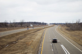 Part of the sixteen-mile stretch of US-127 that needs updating is pictured facing north at the M-57 overpass in Gratiot County