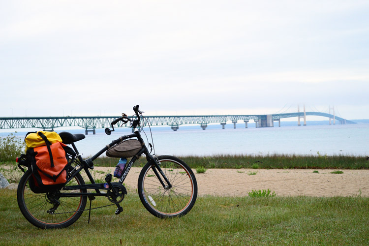 Biking in Michigan can take you through both peninsulas.