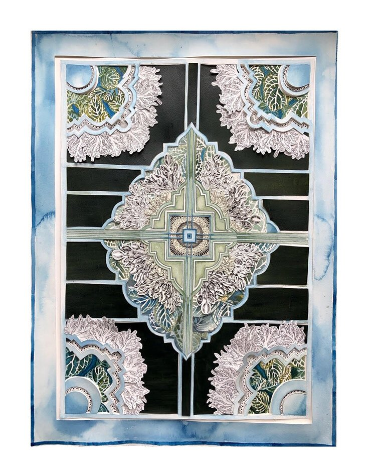 "By Cyrah Dardas, ""Aban- the waters"" comprises handmade ink, handmade watercolor, and cut paper."