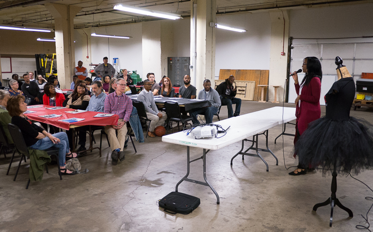 Porcha Clemons makes her presentation at the Flint SOUP during the  October event at Factory Two in Flint. Since winning, she has opened Heart of Worship Dance Studio inside West Court Street Church of God.