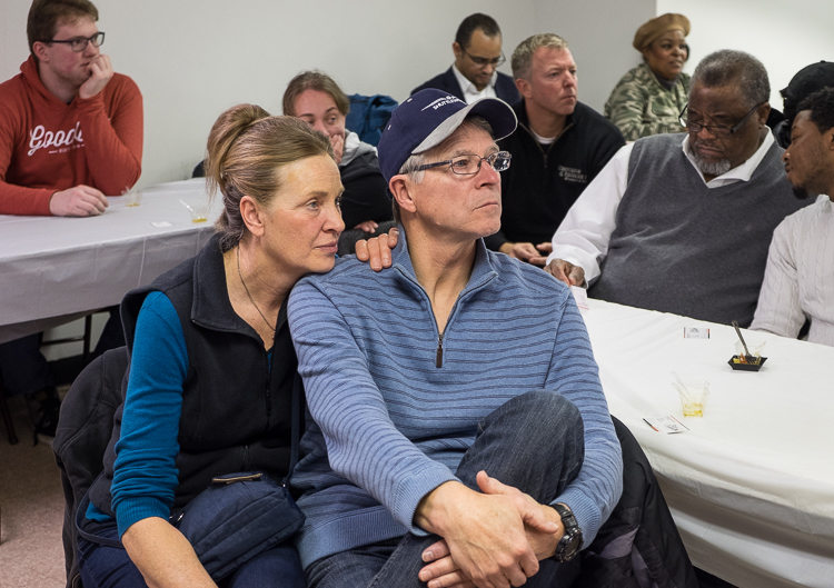 Roger and Helen Shuttleworth of Oxford, parents of Flint SOUP leader James Shuttleworth, listen to presentations at the Flint SOUP event in January 2018 at the Church of the Harvest International  in Flint.