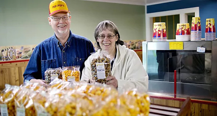 Gene and Patricia McFarland, owners of Pop-Pop's Gourmet Popcorn