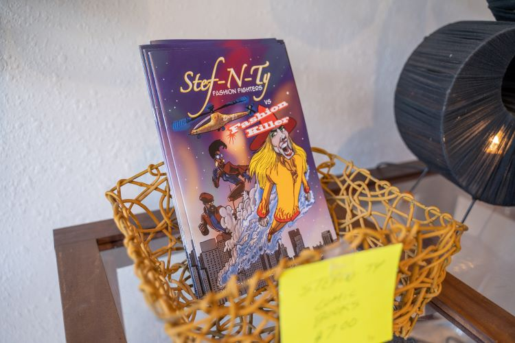 Stephanie and Ty Dickey's shop has plenty of cool items, like a comic book based on their adventures in fashion.