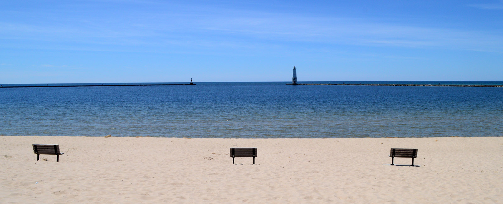Lake Michigan welcomes the weary traveler.