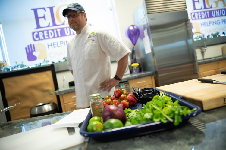 Sean Gartland, the Flint Farmers' Market culinary director, stands in the new ELGA Credit Union Demonstration Kitchen.