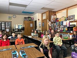 Second graders at Petoskey's Central Elementary School practice mindfulness in 2019.