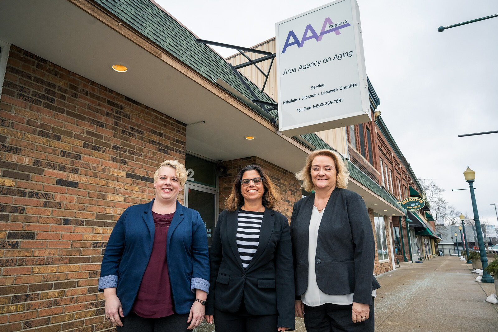 R2AAA elder-abuse victims specialist program manager Angela Shepherd, R2AAA assistant director Kara Lorenz-Goings, and R2AAA executive director Julie Wetherby.