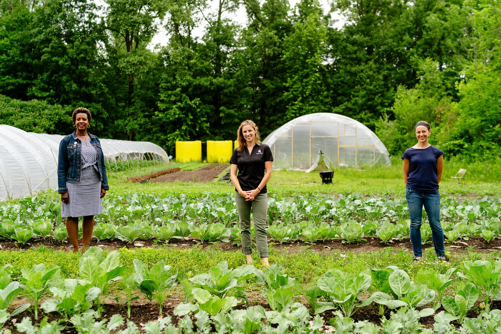 Winona Bynum, Jae Gerhart, and Kelly Wilson at Old City Acres farm in Belleville.